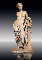 Greek marble Statue of Hermaphroditius ( Hermaphrodites) a mythical being that has both male & female characteristics. From Pergamum (Bergama) Turkey. Istanbul Archaeology Museum, Inv 363T Cat. Mendel 624.