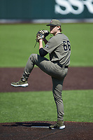 Vanderbilt Commodores starting pitcher Thomas Schultz (66) in action against the South Carolina Gamecocks at Hawkins Field on March 21, 2021 in Nashville, Tennessee. (Brian Westerholt/Four Seam Images)