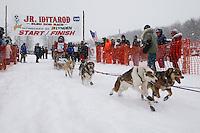 Taylar Holt of North Pole, AK leaves the start line of the 2009 Junior Iditarod on Knik Lake on Saturday Februrary 28, 2009.