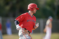 Ball State Cardinals second baseman Noah Navarro (8) runs to first base during a game against the Mount St. Mary's Mountaineers on March 9, 2019 at North Charlotte Regional Park in Port Charlotte, Florida.  Ball State defeated Mount St. Mary's 12-9.  (Mike Janes/Four Seam Images)