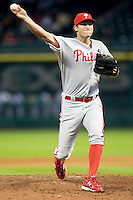 Philadelphia Phillies pitcher Michael Schwimer #39 delivers during the Major League Baseball game against the Houston Astros at Minute Maid Park in Houston, Texas on September 13, 2011. Houston defeated Philadelphia 5-2.  (Andrew Woolley/Four Seam Images)
