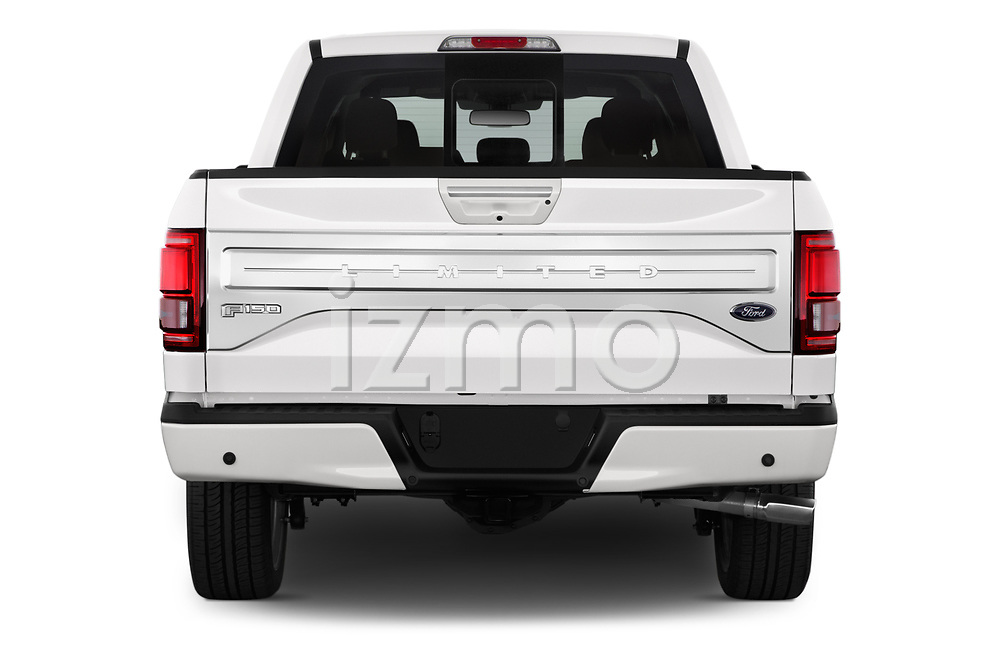 Straight rear view of 2017 Ford F-150 Limited-SuperCrew 4 Door Pickup Rear View  stock images