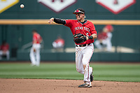 Texas Tech Red Raiders second baseman Brian Klein (5) makes a throw to first base during Game 5 of the NCAA College World Series against the Arkansas Razorbacks on June 17, 2019 at TD Ameritrade Park in Omaha, Nebraska. Texas Tech defeated Arkansas 5-4. (Andrew Woolley/Four Seam Images)
