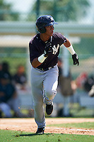 GCL Yankees East second baseman Jesus Graterol (25) runs to first during a game against the GCL Pirates on August 15, 2016 at the Pirate City in Bradenton, Florida.  GCL Pirates defeated GCL Yankees East 5-2.  (Mike Janes/Four Seam Images)