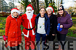 The staff from Moyderwell NS enjoying their Christmas Jingle Bell run in the town park on Tuesday. L to r: Eileen Doyle, Santa Claus, Caroline Van deKamp, Linda Curtin and Paula Hanley.