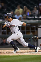 Daniel Barrios (6) of the Scranton/Wilkes-Barre RailRiders follows through on his swing against the Charlotte Knights at BB&T BallPark on April 12, 2018 in Charlotte, North Carolina.  The RailRiders defeated the Knights 11-1.  (Brian Westerholt/Four Seam Images)