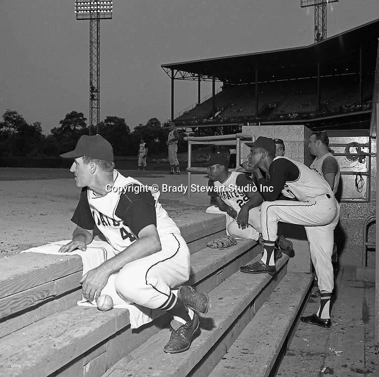 Pittsburgh PA:  Pirate players, Don Clendenon #17, Don Schwall #29 & Coach John Pesky #4 at the HYPO charity baseball game with the Cleveland Indians. The money raised by HYPO (Help Young Players Organize) was used to help local communities buy equipment and build ball fields