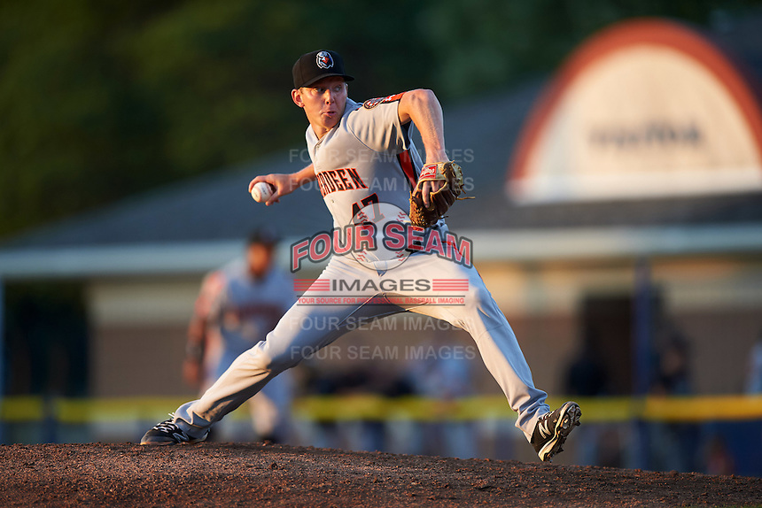 Aberdeen Ironbirds relief pitcher Cody Dube (47) delivers a pitch during a game against the Batavia Muckdogs on July 14, 2016 at Dwyer Stadium in Batavia, New York.  Aberdeen defeated Batavia 8-2. (Mike Janes/Four Seam Images)