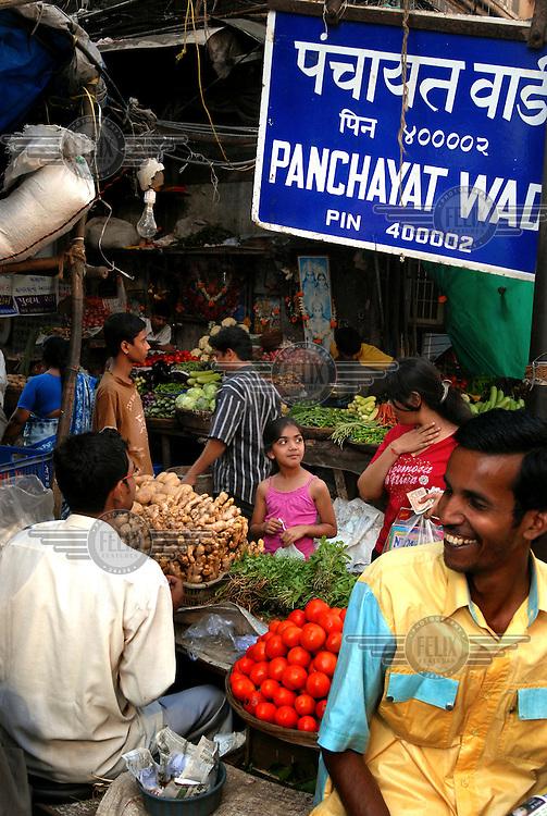 A busy bazaar area in central Mumbai.