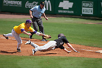 LSU Tigers first baseman Mason Katz #8 lunges to tag Mississippi State baserunner Matthew Britton #15 during the NCAA baseball game on March 18, 2012 at Alex Box Stadium in Baton Rouge, Louisiana. LSU defeated Mississippi State 4-2. (Andrew Woolley / Four Seam Images).