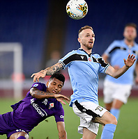 Dalbert of Fiorentina and Manuel Lazzari of SS Lazio compete for the ball during the Serie A football match between SS Lazio and ACF Fiorentina at stadio Olimpico in Roma ( Italy ), June 27th, 2020. Play resumes behind closed doors following the outbreak of the coronavirus disease. Photo Antonietta Baldassarre / Insidefoto