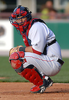 Pawtucket Red Sox catcher Dusty Brown at McCoy Stadium in Pawtucket, RI 4-30-09  (Photo by Ken Babbitt/Four Seam Images)