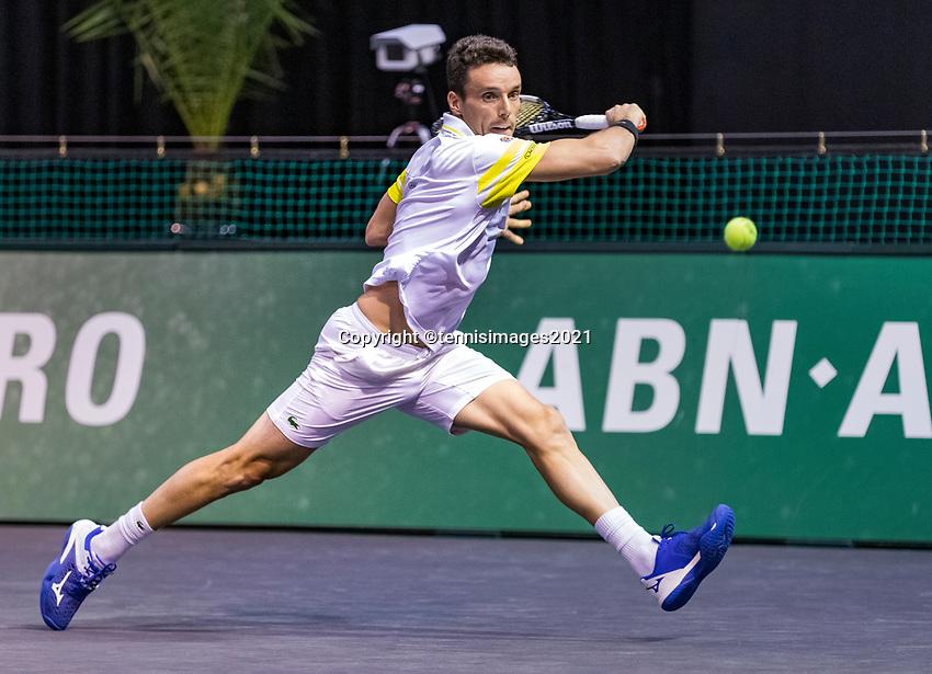Rotterdam, The Netherlands, 3 march  2021, ABNAMRO World Tennis Tournament, Ahoy, First round singles: Roberto Bautista Agut (ESP).<br /> Photo: www.tennisimages.com/henkkoster