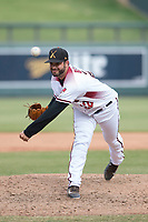 Salt River Rafters relief pitcher Kirby Bellow (22), of the Arizona Diamondbacks organization, follows through on his delivery during an Arizona Fall League game against the Mesa Solar Sox on October 30, 2017 at Salt River Fields at Talking Stick in Scottsdale, Arizona. The Solar Sox defeated the Rafters 8-4. (Zachary Lucy/Four Seam Images)