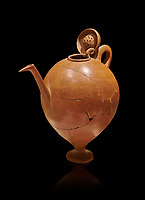 Terra cotta Hittite beaker shaped side spouted pitcher with lid - 1700 BC to 1500BC - Kültepe Kanesh - Museum of Anatolian Civilisations, Ankara, Turkey. Against a black background