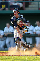 Catcher Joe Hudson #4 of the Notre Dame Fighting Irish during the Big East-Big Ten Challenge vs. the Purdue Boilermakers at Al Lang Field in St. Petersburg, Florida;  February 19, 2011.  Notre Dame defeated Purdue 19-2.  Photo By Mike Janes/Four Seam Images