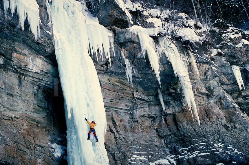 Kurt Smith (MR) ice climbing on the Rigid Designator, Vail, CO. Kurt Smith. Vail, Colorado.
