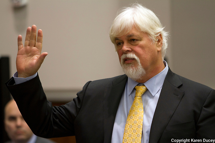 PAUL WATSON, Founder of the Sea Shepherd Conservation Society, testifies in the United States Court of Appeals, Ninth Circuit in Seattle, Washington under Commissioner Peter L. Shaw in Seattle, Wash. on November 6, 2013. Watson is being brought to trial by the Institute of Cetacean Research, Kyodo Senpaku Kaisha, Ltd., Tomoyuki Ogawa, Toshiyuki Miura and Hiroyuki Komura for impeding their whale hunt in the Southern Ocean, potentially violating an injunction issued by the court last December 2012. (copyright KarenDucey.com)