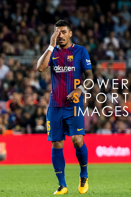 Jose Paulo Bezerra Maciel Junior, Paulinho, of FC Barcelona reacts during the La Liga 2017-18 match between FC Barcelona and Malaga CF at Camp Nou on 21 October 2017 in Barcelona, Spain. Photo by Vicens Gimenez / Power Sport Images