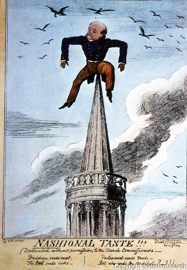 London: Regent St. Cartoon of Nash, 1824, sitting on All Soul's.  The design had been criticized in Parliament.