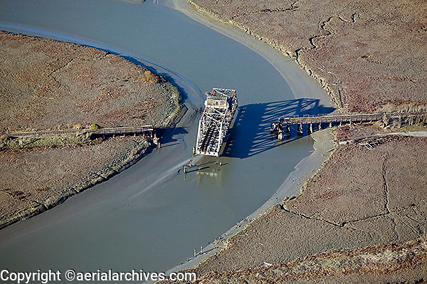 Aerial photograph of the abandoned Newark Slough Swing Bridge, Newark, Alameda County, California