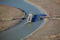 Aerial photograph of the abandoned Newark Slough Swing Bridge, Newark, Alameda County, California