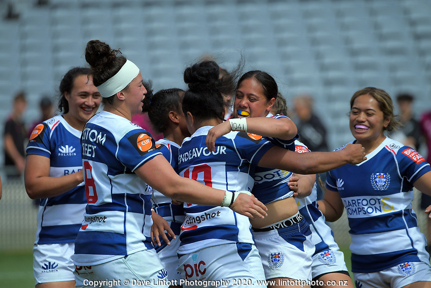 Auckland celebrates a try during the Farah Palmer Cup women's rugby union match between Auckland Storm and Waikato at Eden Park in Auckland, New Zealand on Sunday, 18 October 2020. Photo: Dave Lintott / lintottphoto.co.nz
