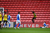 20th March 2021; Vicarage Road, Watford, Hertfordshire, England; English Football League Championship Football, Watford versus Birmingham City; Nathaniel Chalobah of Watford scores his sides second goal in the 55th minute for 2-0
