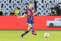 KANSAS CITY, KS - JULY 11: James Sands #16 of the United States passes the ball during a game between Haiti and USMNT at Children's Mercy Park on July 11, 2021 in Kansas City, Kansas.