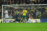 Teemu Pukki of Norwich City hits the post during the Sky Bet Championship match between Norwich City and Swansea City at Carrow Road in Norwich, England, UK. Friday 08 March 2019