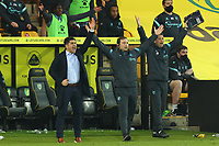 20th April 2021; Carrow Road, Norwich, Norfolk, England, English Football League Championship Football, Norwich versus Watford; Watford Manager Xisco shouts at the referee for the final whistle Strictly Editorial Use Only. No use with unauthorized audio, video, data, fixture lists, club/league logos or 'live' services. Online in-match use limited to 120 images, no video emulation. No use in betting, games or single club/league/player publications