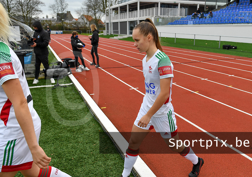 OHL's Marith De Bondt pictured during a female soccer game between Club Brugge Dames YLA and Oud Heverlee Leuven on the 8 th matchday of the 2020 - 2021 season of Belgian Scooore Womens Super League , saturday 21 th November 2020  in Knokke , Belgium . PHOTO SPORTPIX.BE | SPP | DAVID CATRY