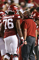 Arkansas head coach Sam Pittman reacts, Saturday, September 11, 2021 during the third quarter of a football game at Reynolds Razorback Stadium in Fayetteville. Check out nwaonline.com/210912Daily/ for today's photo gallery. <br /> (NWA Democrat-Gazette/Charlie Kaijo)