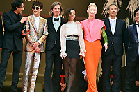 CANNES, FRANCE. July 12, 2021: Adrien Brody, Timothee Chalamet, Wes Anderson, Lyna Khoudri, Tilda Swinton, Alexandre Desplat & Stephen Park at the gala premiere of Wes Anderson's The French Despatch at the 74th Festival de Cannes.<br /> Picture: Paul Smith / Featureflash