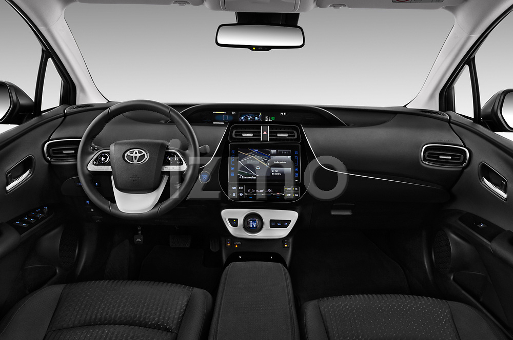 Stock photo of straight dashboard view of a 2017 Toyota Prius Plug-in Hybride Solar 5 Door Hatchback