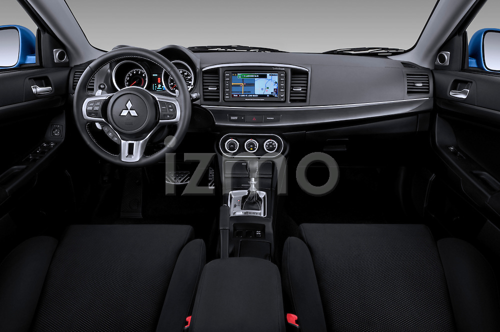 Straight dashboard view of a 2010 Mitsubishi Lancer Sportback.