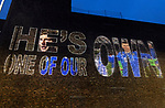 The city of Perth shows it's support for St Johnstone ahead of Saturdays Scottish Cup Final against Hibs at Hampden... 20.05.21<br />A special message of support for St Johnstone local boy Liam Gordon is projected onto buildings on Mill Street in Perth ahead of saturday's Scottish Cup Final against Hibs.<br />Picture by Graeme Hart.<br />Copyright Perthshire Picture Agency<br />Tel: 01738 623350  Mobile: 07990 594431