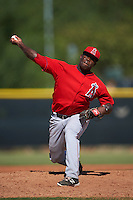 Los Angeles Angels pitcher Victor Alcantara (36) during an instructional league game against the Arizona Diamondbacks on October 9, 2015 at the Tempe Diablo Stadium Complex in Tempe, Arizona.  (Mike Janes/Four Seam Images)