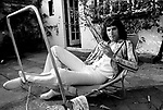Queen 1975 Freddie Mercury at Ridge Farm in Surrey August 1st 1975.<br /> © Chris Walter