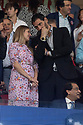 Jorge Garbajosa and his wife Alejandra Dominguez during the Atletico de Madrid against Juventus Uefa Champions League football match at Wanda Metropolitano stadium in Madrid on September 18, 2019.