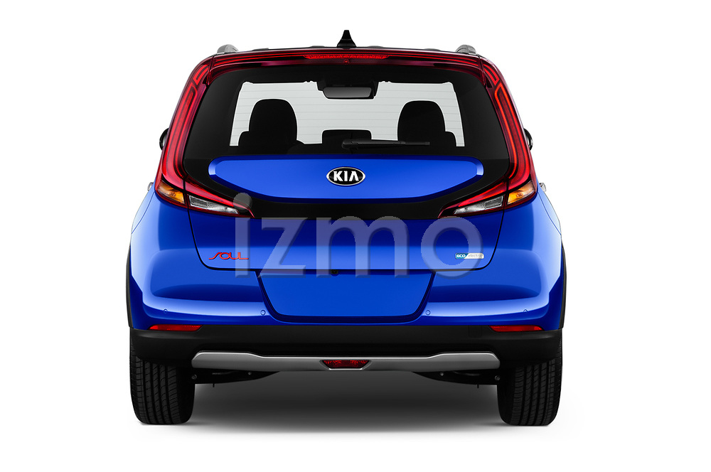 Straight rear view of 2020 KIA e-Soul Premium 5 Door SUV Rear View  stock images