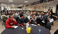 Pictured: Tuesday 29 November 2016<br />Re: Soup kitchen for homeless people organised by Swansea City FC and Woolwich at the Liberty Stadium, Wales, UK