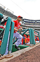25 September 2011: Washington Nationals outfielder Jayson Werth takes to the field prior to a game against the Atlanta Braves at Nationals Park in Washington, DC. The Nationals shut out the Braves 3-0 to take the rubber match third game of their 3-game series - the Nationals' final home game for the 2011 season. Mandatory Credit: Ed Wolfstein Photo