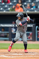 Lehigh Valley IronPigs second baseman Jesmuel Valentin (7) at bat against the Toledo Mud Hens during the International League baseball game on April 30, 2017 at Fifth Third Field in Toledo, Ohio. Toledo defeated Lehigh Valley 6-4. (Andrew Woolley/Four Seam Images)