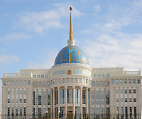 """Peter Hitchens stands in front of the """"White Building"""" which is the presidential palace in the new main boulevard in the newly built capitol of Kazakhstan, called Astana which translates as """"capitol"""" , 20th October 2010.<br /> <br /> PHOTO BY RICHARD JONES / SINOPIX"""