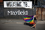 © Joel Goodman - 07973 332324 - all rights reserved . 25/08/2019. Manchester, UK. Fans of Ariana Grande and other musical acts gather at Mayfield Depot ahead of performances this evening . Manchester's annual Gay Pride festival , which is the largest of its type in Europe , celebrates LGBTQ+ life . Photo credit : Joel Goodman