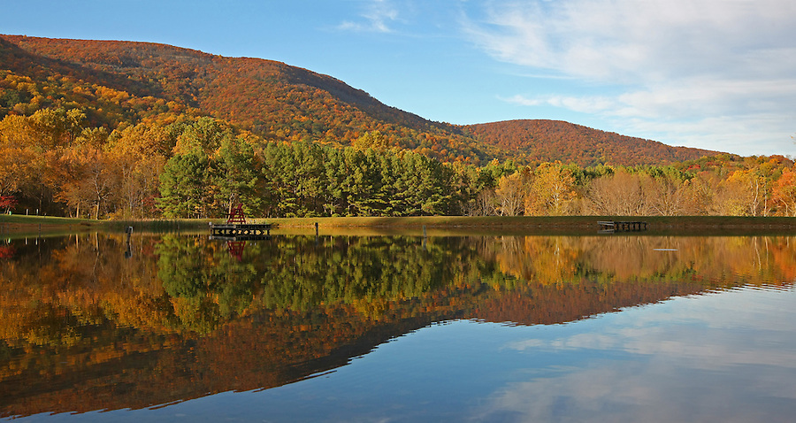 A fall colored landscape over Crozet's Mint Springs Park. Credit Image: © Andrew Shurtleff