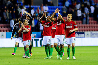 Tuesday, 7 May 2013<br /><br />Pictured: Swansea City Players applaud the fans at the end of the game<br /><br />Re: Barclays Premier League Wigan Athletic v Swansea City FC  at the DW Stadium, Wigan