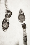 A rare late autumn snowfall covers the Sierra Foothill town of Jackson, Calif.<br /> <br /> Footprints in the snow