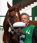 May 26, 2014: Sweet Cassiopeia in the paddock with her groom before the Winning Colors at Churchill Downs. She is owned by Dan Considine and Steve C. Snowden, trained by William R. Connelly, and ridden by Joseph Rocco Jr.  Mary M. Meek/ESW/CSM